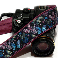 Butterflies Camera Strap, Blue Purple Camera Strap, Nikon, Canon, Mirrorless Camera Strap, Women Accessories