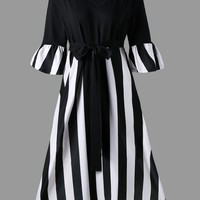 Plus Size Tie Belt Striped Midi Dress