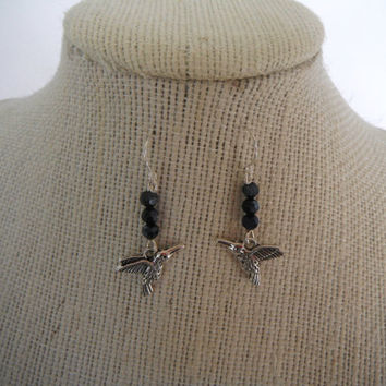 Silver Hummingbirds with Black Crystal Earrings Dangle Gift fashion under 20