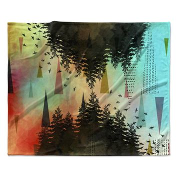 "alyZen Moonshadow ""AS ABOVE, SO BELOW (TURQUOISE)"" Orange Teal Fleece Throw Blanket"