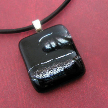 Fused Glass Necklace Black Silver Broad Band by mysassyglass