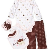 Vitamins Baby-Girls Newborn Rodeo Cowgirl 4 Piece Creeper Pant Set
