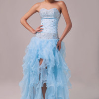 GK Strapless Organza Ball Gown Evening Prom Formal Party Pageant Cocktail Dress
