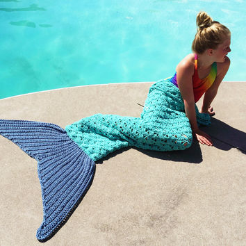 Hot Deal Mermaid Knit Handcrafts Sofa Blanket [9600184079]