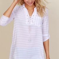 Beach Breeze Striped Tunic White/Mauve