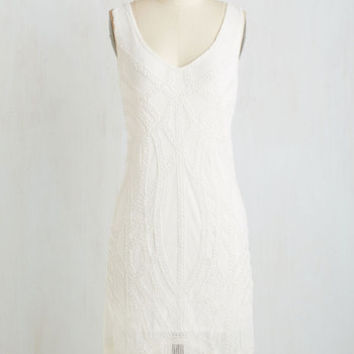 Vintage Inspired Long Sleeveless Shift Sing, Sing, Swing Dress by ModCloth