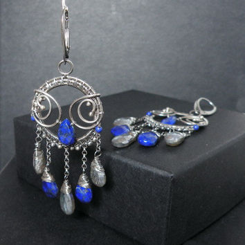 silver dangle wire wrapped earrings with mystic by MadeBySunflower