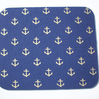 Mouse Pad mousepad / Mat - round - gold anchors on navy blue - Computer Accessories decor  Custom Desk Coworker Gifts Office cubical
