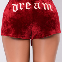 Dream On Velour Shorts - Amber