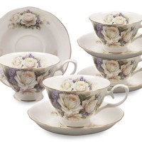 Gracie Bone China 8-Ounce Cup and Saucer, White Rose Violet, Set of 4