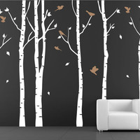 Birch Tree with Flying Birds vinyl wall decal birch tree wall decals nursery wall stickers living room Baby nursery white birch trees forest