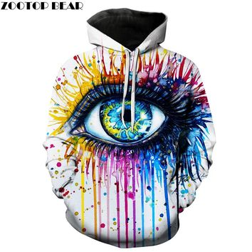Splash paint Eye Hoodies Men Women 3D Sweatshirts Novelty Male Pullover Autumn Spring Tracksuits Hooded Jacket Quality Outwear