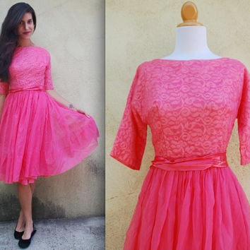 Vintage 50s 60s Neon Pink Party Dress size small by littlelightVTG