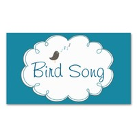 Teal & White Bird Song Business Card Template