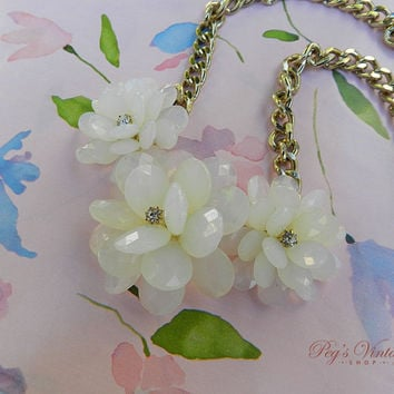 Large Shabby Chic White Plastic Flower Necklace, Gold Chain Floral Bridal Vintage Necklace