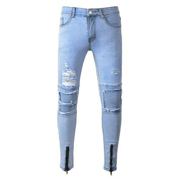 Distressed Ripped Denim Jeans Men Hole Super Mens Skinny Biker Jeans Stretch Streetwear Hip Hop Slim Tourser Male Biker Jogger