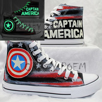 Popular Captain America Luminous Hand Painted Canvas Shoes Customize Cosplay Shoes High Top Converse for Men Women US Free Shipping