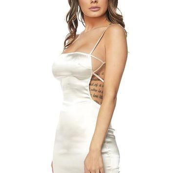 Champagne Satin Open Back Mini Dress