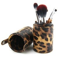 Bao Xin Brand New Professional Makeup Brush Set with High Quality Leather Tube Case - 7 Pcs in 1