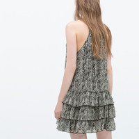 Printed dress with frills