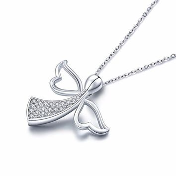 Women's Angel Pendant Sterling Silver Necklace