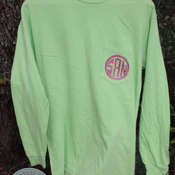 Glitter Monogram Long Sleeve Pocket Tee