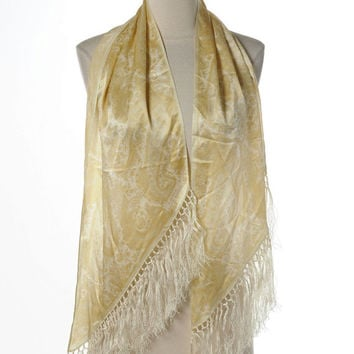 Ralph Lauren Silk Scarf Large Wrap Light Yellow Gold Paisley Print Fringed Trianguar Excellent Peviously Owned Stole