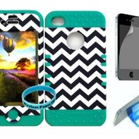 For Apple iphone 4/4s Dark Blue Chevron pattern Matte Finish Snap on + Teal Green Silicone Hybrid case cover with Screen protector,Media Display Kickstand and Wireless Fone's wristband
