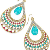 Thalia Sodi Gold-Tone Turquoise Bead and Crystal Teardrop Filigree Earrings