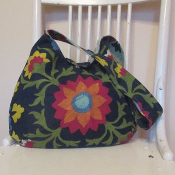 Blue Shoulder Bag , Navy Blue Bag With Flowers , Slouchy Shoulder Bag