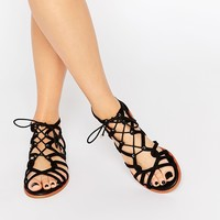 KG By Kurt Geiger Maisy Black Gladiator Flat Sandals at asos.com