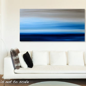 Large 48 x 24 Abstract Ocean Seascape Painting - Original Landscape Acrylic Canvas Wall Art Decor - Blue, Beige, White - Huge Wide Long
