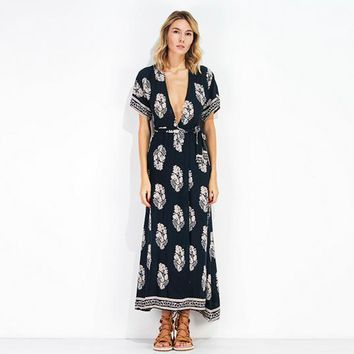 Fashion Casual Print Deep V Short Sleeve Backless Strappy Maxi Dress