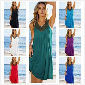 Summer Drilling Off Shoulder Mini Tank Beach Dress Tunic Swimwear Women Pareo Beach Sarongs Bathing Suit Swimsuit Beach Cover Up
