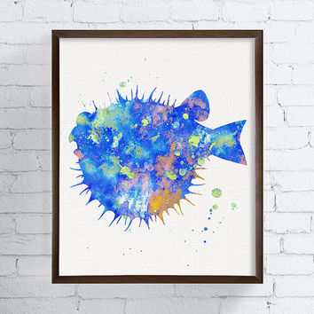 Watercolor Fish, Bathroom Decor, Coastal Wall Art, Sea Life Art, Nursery Wall Decor, Beach Art Print, Blow Fish Art Print, Fish Painting