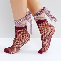 ASOS Fishnet Gingham Bow Strap Ankle Socks at asos.com