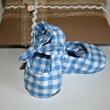 Handmade baby Mary Jane cotton crib shoes blue gingham fabric slippers boots booties Sizes from 0 -18 months