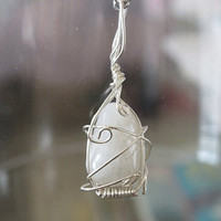 White Moon - Rainbow Moonstone wire wrapping sterling silver Pendant