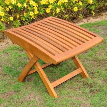 Teak Folding Footrest Wood Patio Outdoor Yard Garden Furniture Hardwood Brown