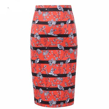 2016 Original Design Skirts Women Retro Roses and Birds Striped Print High Waist Bodycon Wrap Midi Pencil Skirt