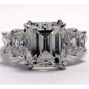 4.2CT Perfect Emerald Cut Russian Lab Diamond Engagement Wedding Anniversary Ring