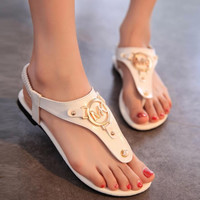 MK Flat sandwich sandals comfortable Roman wind flat bottom sandals