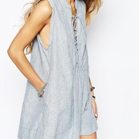 Free People Twill Poplin Stripe Mini Smock Dress at asos.com