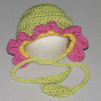 Tiny Newborn / Flower Bonnet in  Poodle Pink and Sweet Pea with Duckie Trim