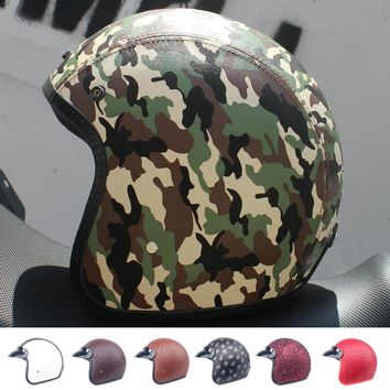 LDMET leather PU harley casco moto vintage motorcycle helmet capacetes de motociclista punk  cafe racer open face camouflage