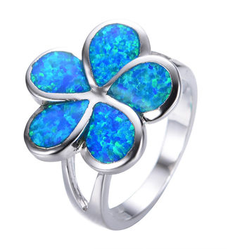 Pretty Blue Fire Opal Ring Charming White Gold Filled Flower Style Finger Rings For Women Girl Wedding Party Gift Anillos RP0016
