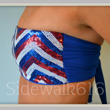 Sequin Red White Blue Chevron Bandeau Top Spandex Bandeau Bikini Swimsuit