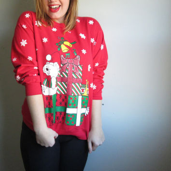 Vintage Polar Bear & Presents Ugly Christmas Sweater