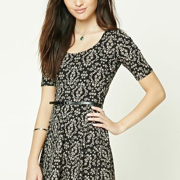 Ornate Belted Skater Dress
