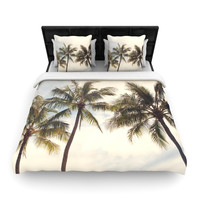 "Catherine McDonald ""Boho Palms"" Coastal Trees Woven Duvet Cover"